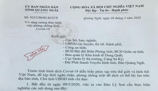 Phòng, chống dịch Covid-19: Quảng Ngãi nghiêm cấm du khách ra đảo Lý Sơn