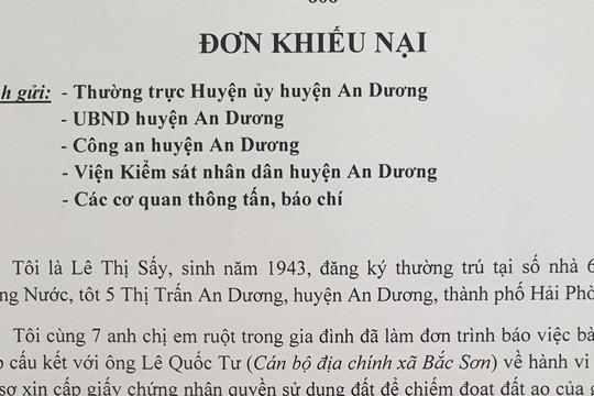 Huyện An Dương, TP Hải Phòng: Bao giờ mới giải quyết dứt điểm khiếu nại của công dân?