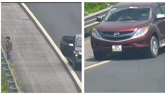 Xử phạt 2 tài xế chạy lùi và dừng xe đi vệ sinh trên cao tốc Hà Nội - Hải Phòng
