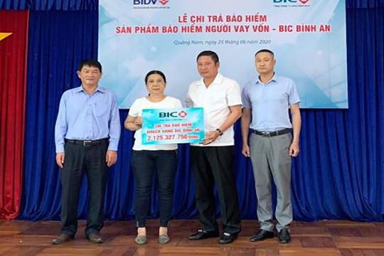 BIC chi trả hơn 2 tỷ đồng tiền bảo hiểm cho khách hàng vay vốn tại Quảng Nam