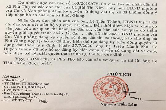 """UBND Thị xã Phú Thọ """"lúng túng"""" khi làm thủ tục sang tên sổ đỏ cho công dân"""