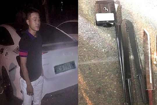 Tài xế ô tô mang mã tấu gây tai nạn rồi bỏ chạy