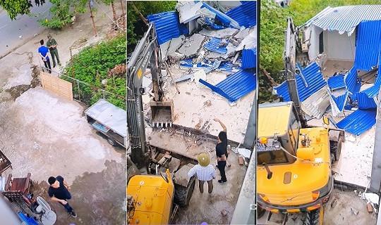 Điều tra nhóm đối tượng dùng máy xúc đập phá nhà dân