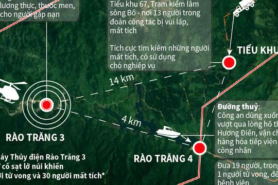 Vụ sạt lở tại Thủy điện Rào Trăng 3: Tiếp tục tìm kiếm đoàn công tác 13 người và số công nhân bị mất tích