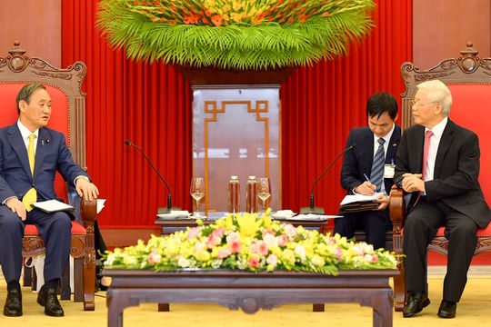 Các nhà lãnh đạo Việt Nam tiếp Thủ tướng Nhật Bản