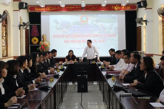 TAND tỉnh Sơn La quyên góp ủng hộ đồng bào vùng lũ  khắc phục hậu quả thiên tai