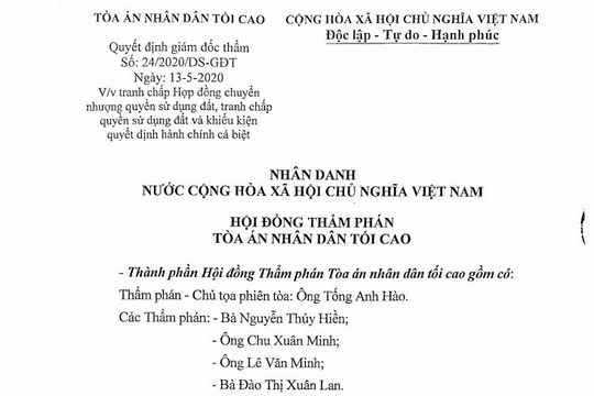 Kháng nghị giám đốc thẩm, hủy hai bản án vụ tranh chấp hợp đồng chuyển nhượng QSDĐ tại Kiên Giang