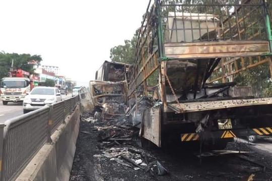 Xe tải đối đầu container rồi cháy rụi trên Quốc lộ 1A