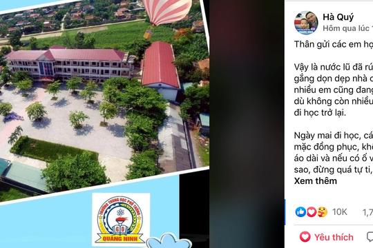 Ấm lòng tâm thư của hiệu trưởng gửi học trò vùng lũ Quảng Bình