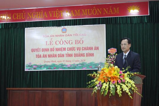 Công bố Quyết định Chánh án TAND tỉnh Quảng Bình