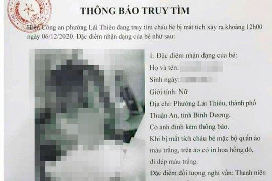 Giả thông báo truy tìm bé gái mất tích của Công an