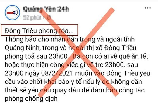 Tin phong tỏa thị xã Đông Triều là không chính xác
