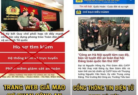 Truy tố 2 bị can giả mạo Cổng thông tin điện tử Công an TP Hà Nội