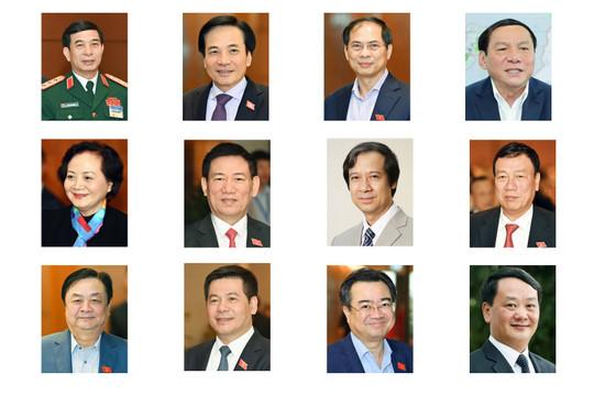 Danh sách 11 bộ trưởng và Tổng Thanh tra Chính phủ vừa được trình Quốc hội