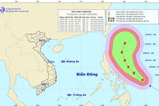 Sẵn sàng ứng phó siêu bão Surigae gần Biển Đông