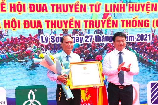Lễ hội đua thuyền tứ linh Lý Sơn được công nhận di sản văn hóa phi vật thể Quốc gia