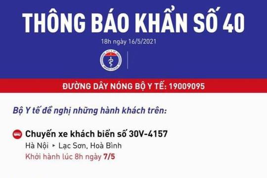 Bộ Y tế khẩn cấp tìm người đi xe khách Hà Nội - Hòa Bình
