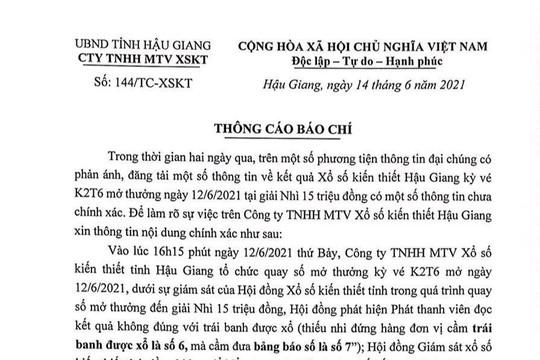 """Công ty xổ số kiến thiết tỉnh Hậu Giang lên tiếng vụ xổ """"nhầm"""" số giải thưởng"""