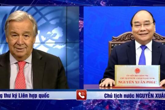 Chủ tịch nước điện đàm với Tổng Thư ký Liên hợp quốc Antonio Guterres