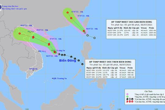 Bắc Bộ mưa dông diện rộng, áp thấp nhiệt đới có thể mạnh lên thành bão