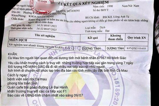Thông tin phong tỏa toàn tỉnh Cà Mau trên phiếu xét nghiệm là giả