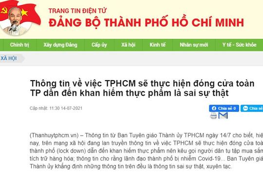 'TPHCM đóng cửa toàn thành phố' là thông tin sai sự thật
