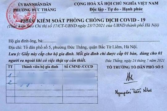 Áp dụng 'phiếu ra đường' cho người dân ở khu vực cho phép