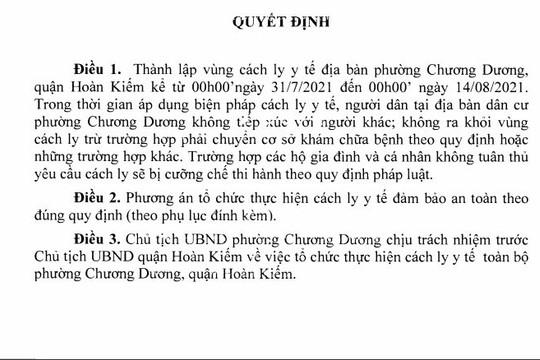 Hà Nội: Cách ly y tế phường Chương Dương từ 0 giờ ngày 31/7