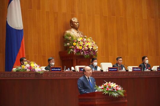Chủ tịch nước phát biểu trước QH Lào: Chúng ta phải hợp tác để cùng nhau mạnh lên, giàu lên