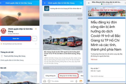 Cách đăng ký về quê qua Zalo cho người dân Bắc Giang