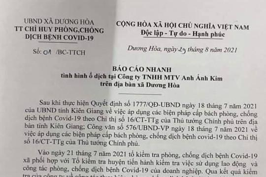 Kiên Giang: Phát hiện ổ dịch 65 ca F0 tại một công ty