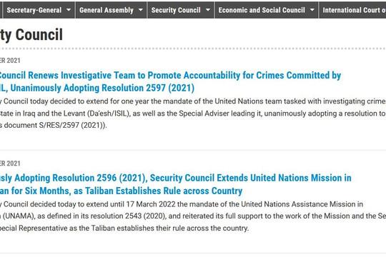 Hội đồng Bảo an thông qua nghị quyết về gia hạn hoạt động của LHQ tại Afghanistan và Iraq