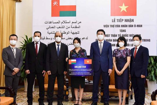 Vương quốc Oman hỗ trợ Việt Nam 300.000 USD khắc phục hậu quả lũ lụt ở miền Trung
